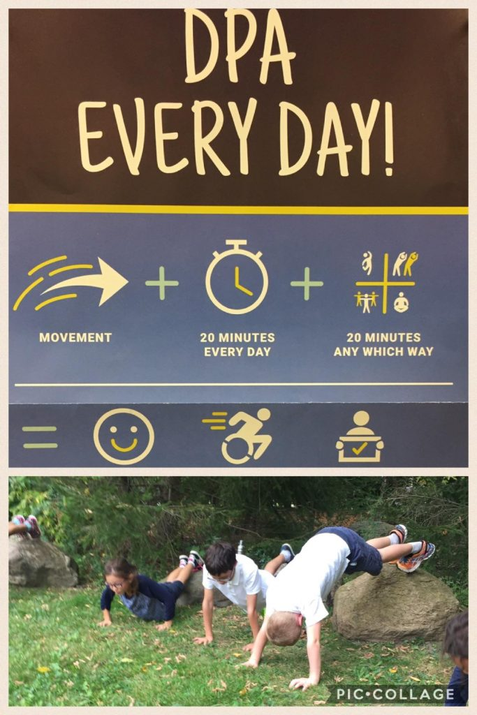 infographic showing 20 minutes of movement every day equals happy and healthy